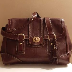 100%EMBOSSED LEATHER BROWN COACH SIGNATURE SATCHEL